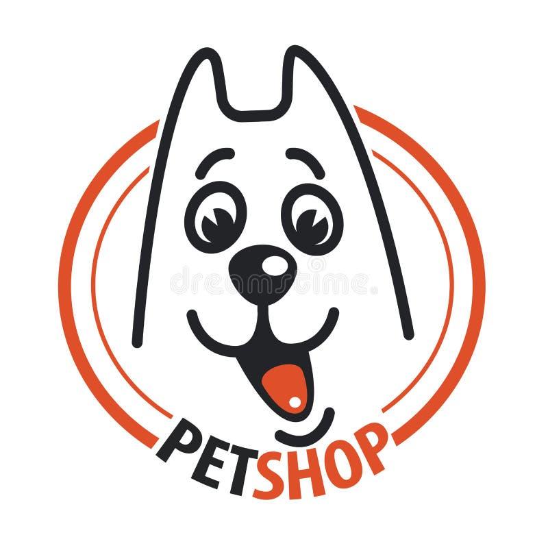 Loja de animais de estimação com uma cabeça de cão ilustração stock