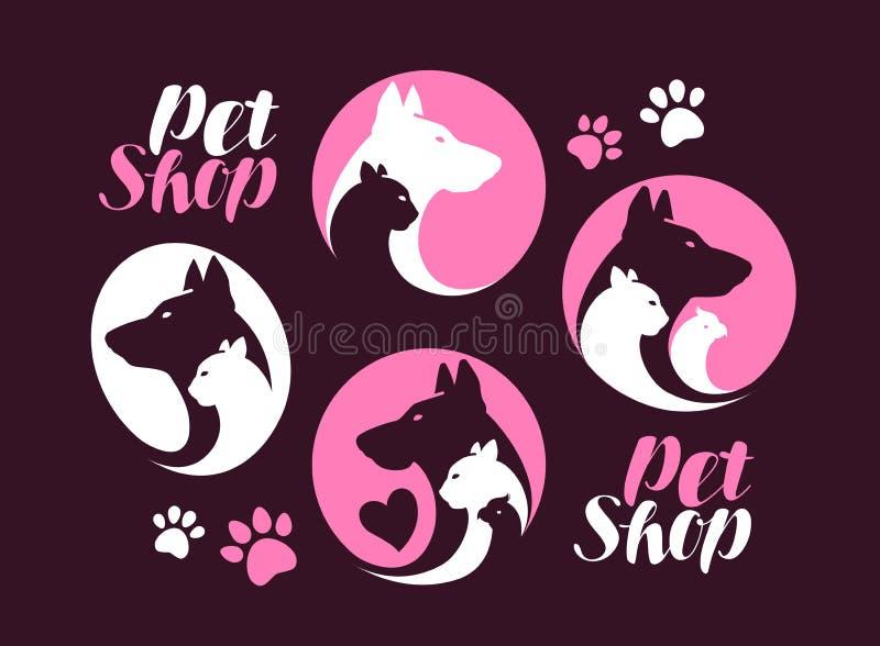 Loja de animais de estimação, grupo de etiqueta Ícone do cão, do gato, do papagaio, o animal ou logotipo Ilustração do vetor ilustração royalty free