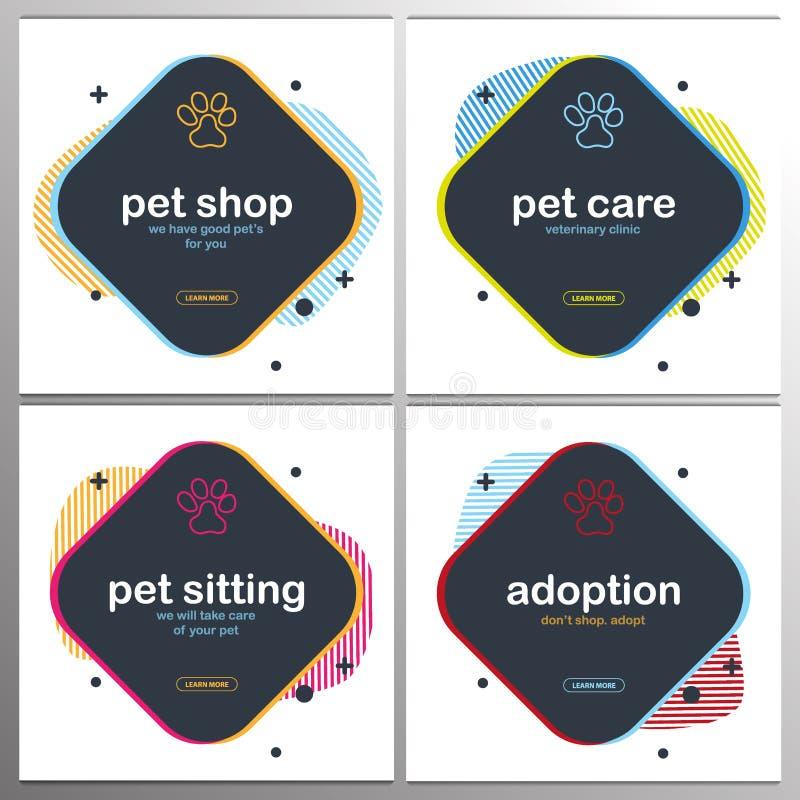 Loja de animais de estimação, cuidado, assento do animal de estimação adoption Animais Home Bandeira com as patas do gato ou do c ilustração stock