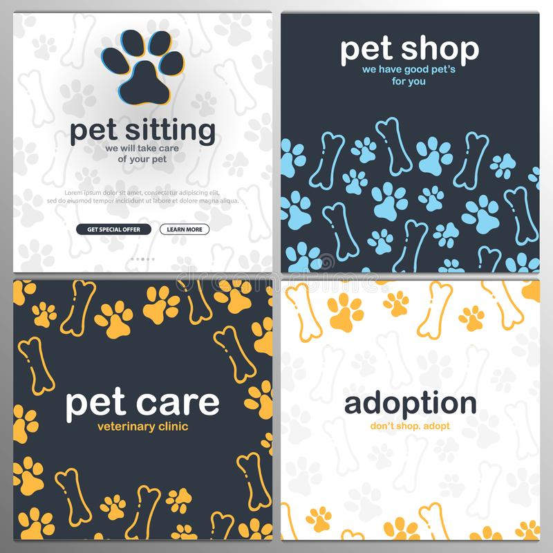 Loja de animais de estimação, cuidado, assento do animal de estimação adoption Animais Home Bandeira com as patas do gato ou do c ilustração do vetor