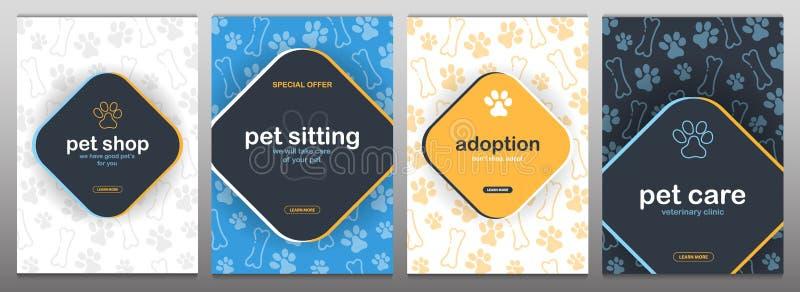 Loja de animais de estimação, cuidado, assento do animal de estimação adoption Animais Home Bandeira com as patas do gato ou do c ilustração royalty free