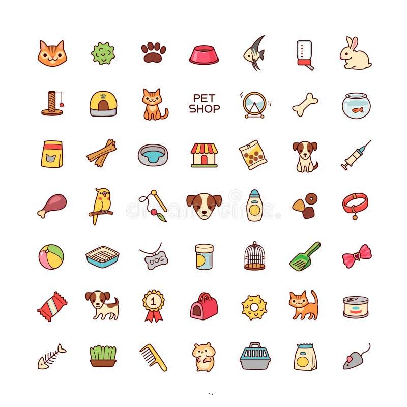 Loja de animais de estimação dos ícones ilustração royalty free