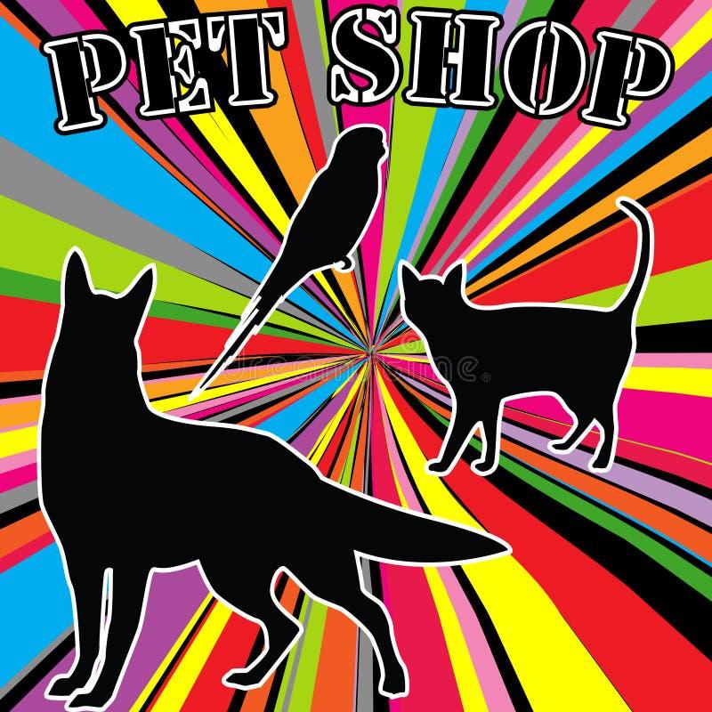Loja de animal de estimação que anuncia com silhuetas dos animais de estimação ilustração do vetor