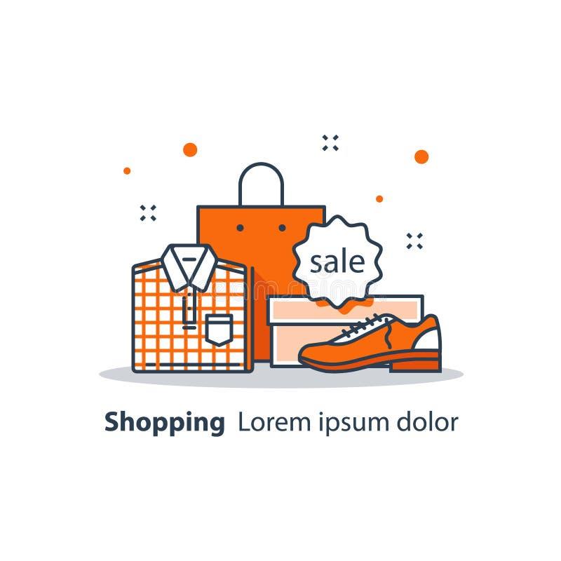 Loja de disconto, oferta especial, anúncio da venda da loja, propaganda e promoção, roupa e sapatas ilustração royalty free