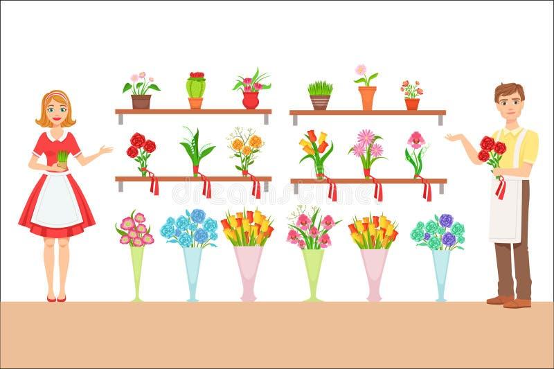 Loja de In The Flower do florista que demonstra a variedade ilustração do vetor