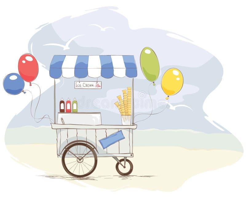 Loja de gelado na praia ilustração royalty free