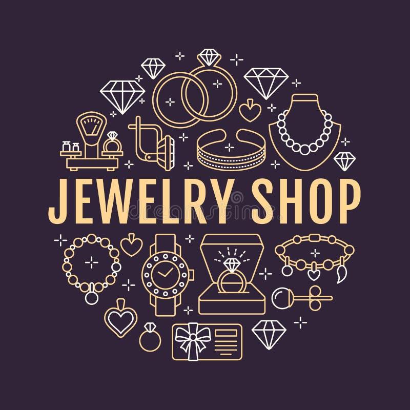 Loja de joia, ilustração da bandeira dos acessórios do diamante Vector a linha ícone de joias - aneis de noivado do ouro, brincos ilustração stock