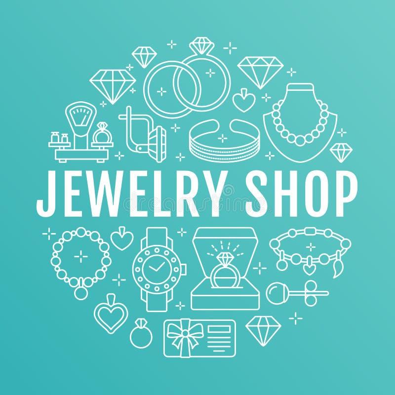 Loja de joia, ilustração da bandeira dos acessórios do diamante Vector a linha ícone de joias - aneis de noivado do ouro, brincos ilustração royalty free