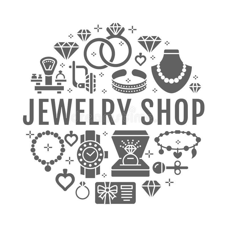 Loja de joia, ilustração da bandeira dos acessórios do diamante Vector o ícone da silhueta das joias - aneis de noivado do ouro ilustração stock