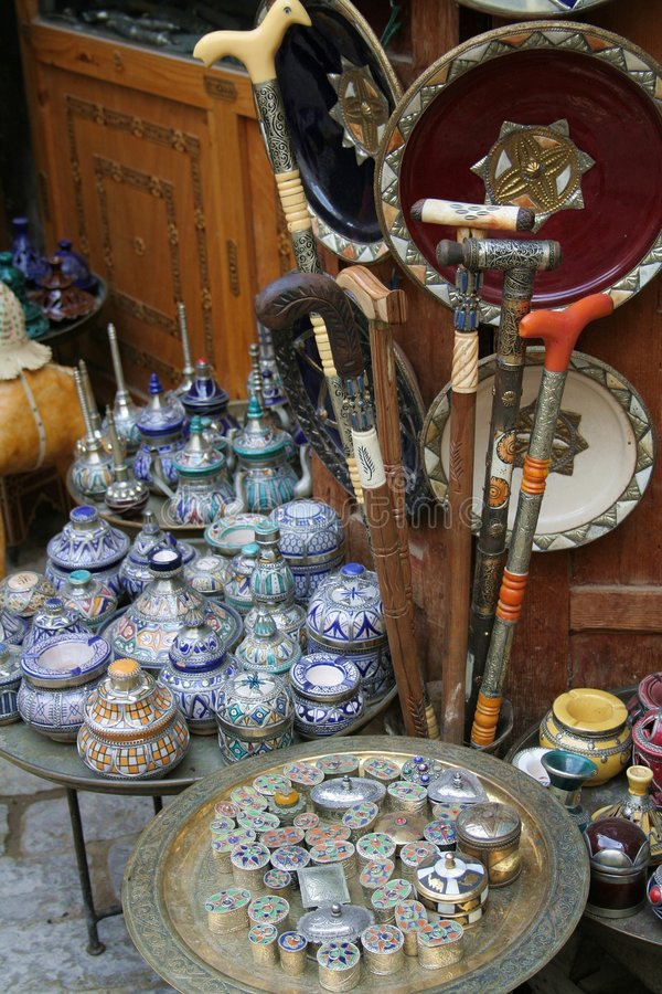 Loja de lembrança marroquina fotos de stock royalty free