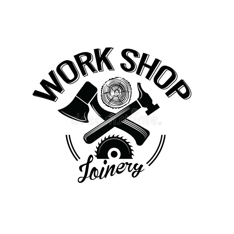 Loja de madeira Elemento das ferramentas, da etiqueta e do projeto da carpintaria do vintage ilustração do vetor