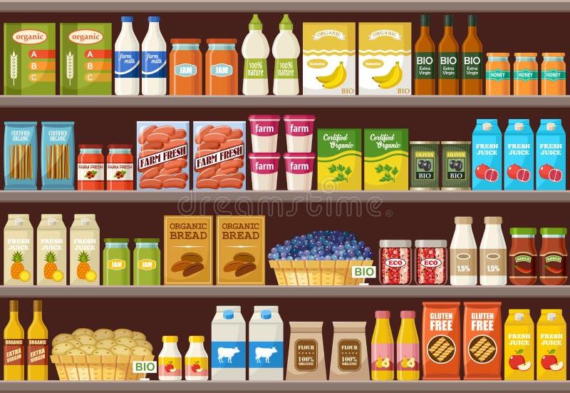 Loja de produtos orgânicos supermarket ilustração royalty free