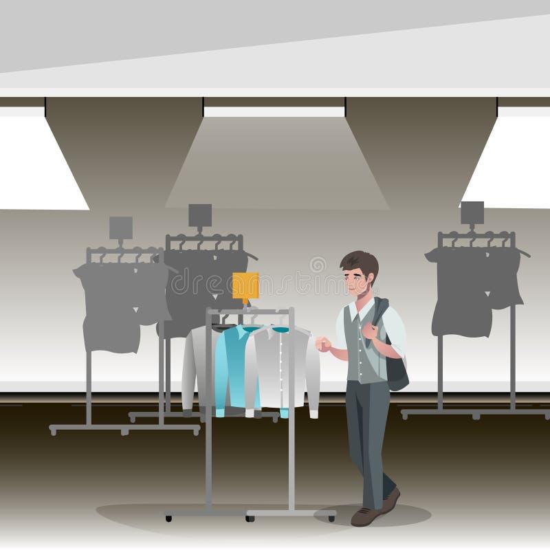 Loja de roupa, boutique interno da forma de panos dos homens s ilustração royalty free