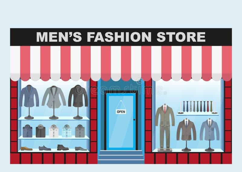 Loja de roupa do ` s dos homens Roupa e calçados do boutique da forma dos homens ilustração do vetor