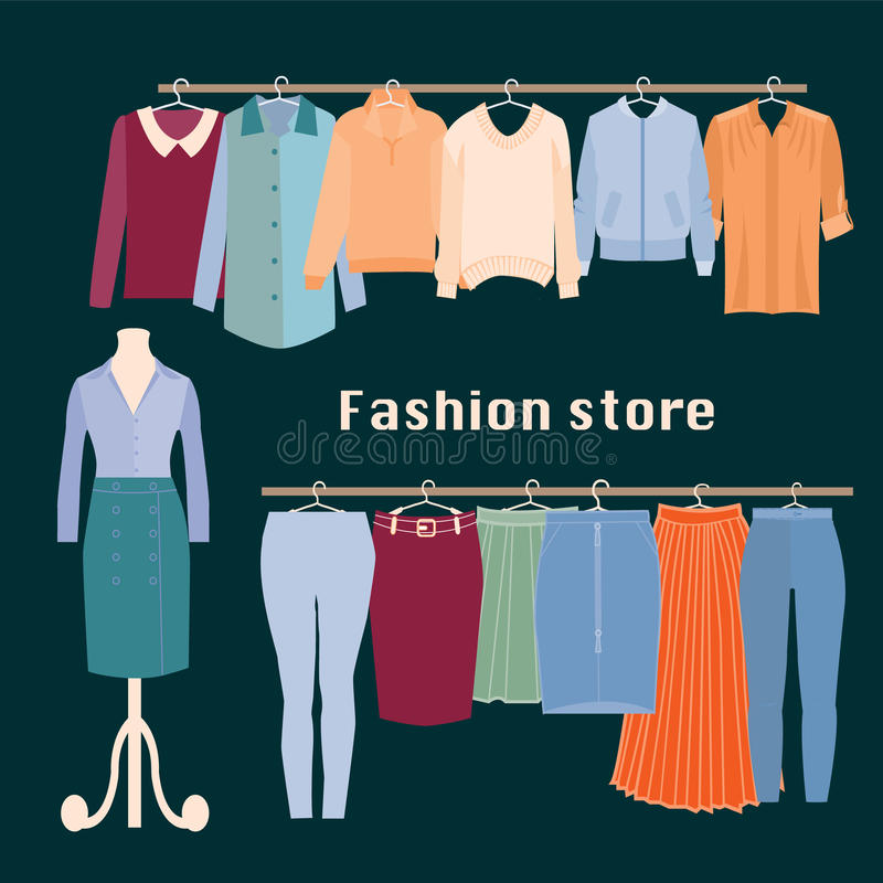 Loja de roupa Loja interna da forma do boutique ilustração royalty free