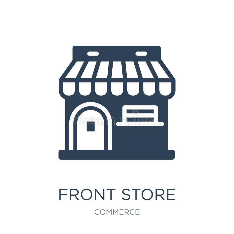 loja dianteira com ícone do toldo no estilo na moda do projeto loja dianteira com o ícone do toldo isolado no fundo branco loja d ilustração do vetor