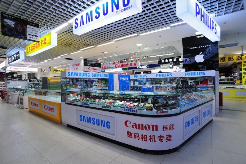 Loja do equipamento da câmera fotografia de stock