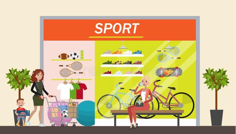 Loja do esporte na alameda ilustração stock