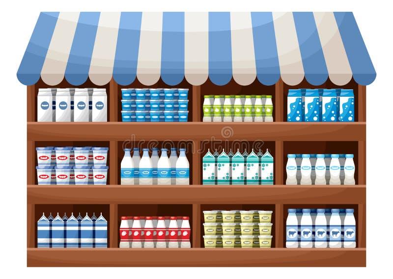 Loja do fazendeiro dos produtos láteos ilustração royalty free
