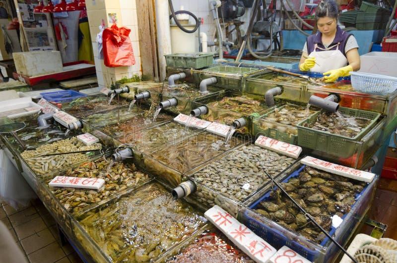 Loja do marisco em Sai Kung, Hong Kong imagem de stock royalty free