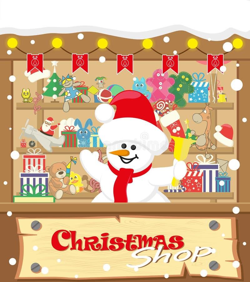 Loja do Natal da bandeira do vetor com boneco de neve e presentes, brinquedos, bonecas, caixa atual e festões da lâmpada com band ilustração stock