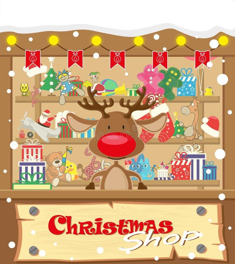 Loja do Natal da bandeira do vetor com cervos e presentes, brinquedos, bonecas, caixa atual e festões da lâmpada com bandeiras ilustração do vetor