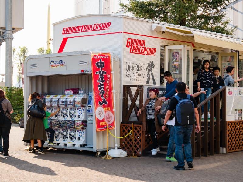 Loja do reboque de Gundam, loja oficial de Gundam na plaza da cidade do mergulhador foto de stock royalty free