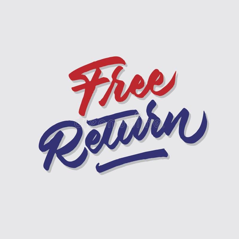 A loja do retorno livre das vendas e do mercado da tipografia da rotulação da mão armazena o cartaz do signage ilustração do vetor