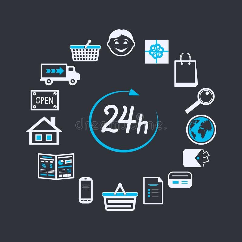 A loja do Web site do Internet abre 24 horas ilustração royalty free