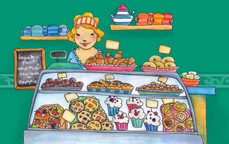 Loja doce do pasteleiro ilustração royalty free