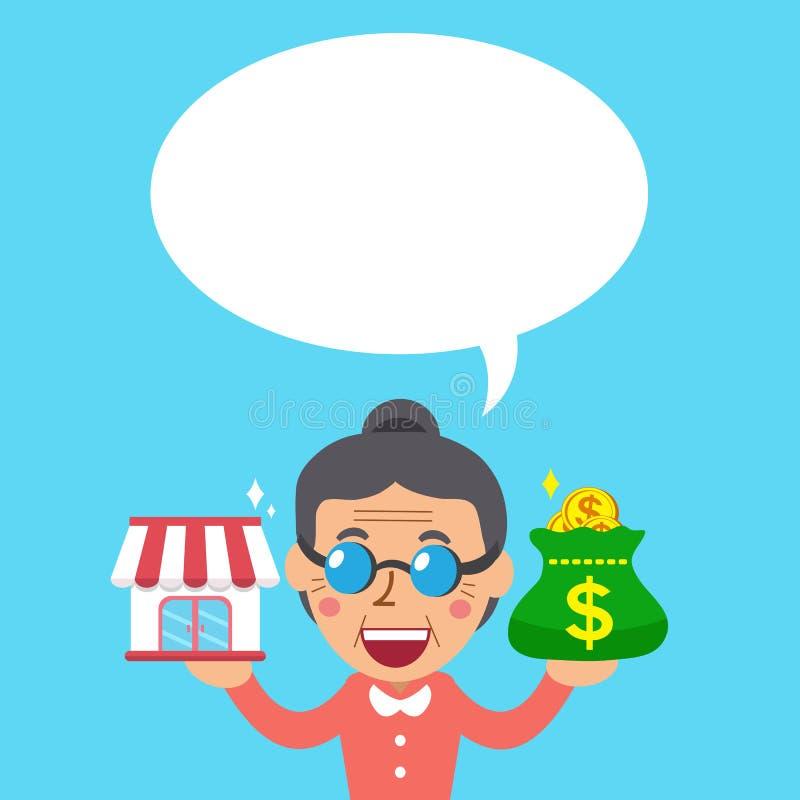 A loja e o dinheiro levando do negócio da concessão da mulher superior dos desenhos animados ensacam com bolha branca do discurso ilustração do vetor