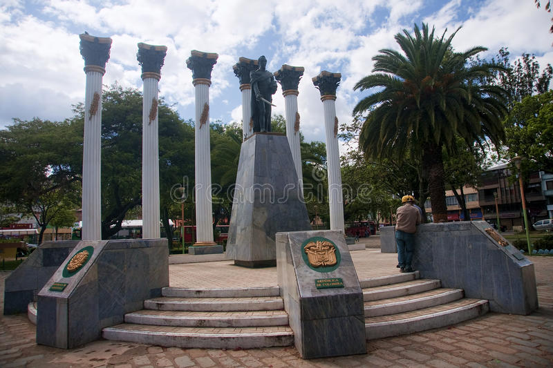 LOJA, ECUADOR - NOVEMBER 29, 2015: Monument to one of the square. S of the city on 29 November 2015 in Loja, Ecuador. The town has several squares and historic royalty free stock photo