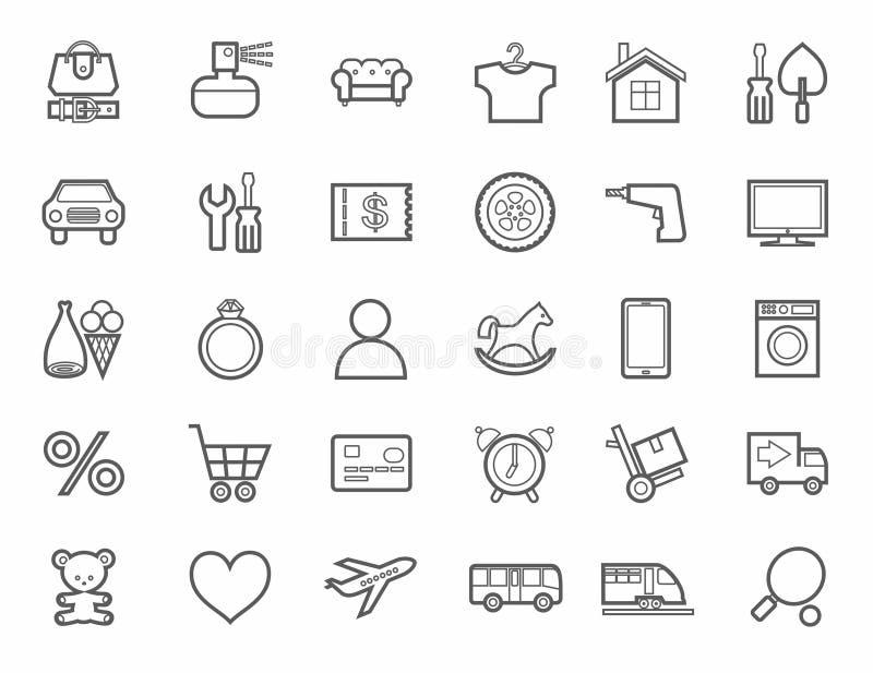 Loja em linha, categorias de produto, ícones, linear, monótonos ilustração do vetor