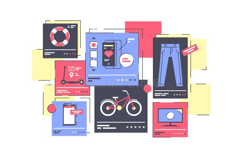 Loja em linha isolada plano com roupa e dispositivo ilustração do vetor