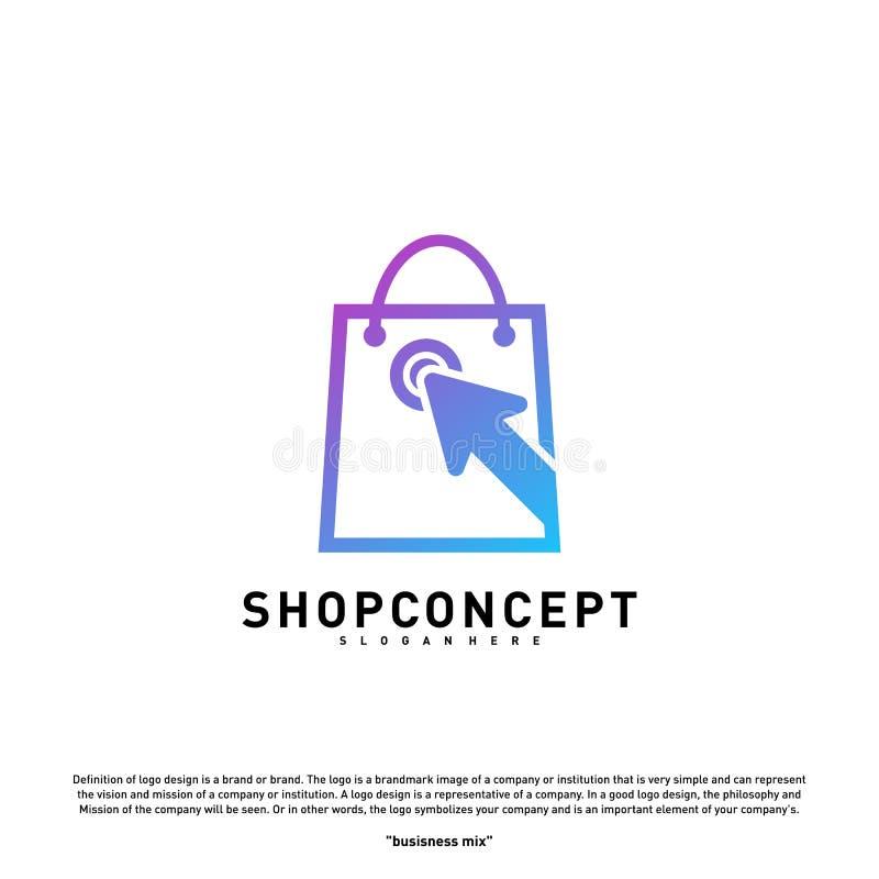 Loja em linha Logo Design Concept Shopping em linha Logo Vetora Símbolo em linha da loja e dos presentes ilustração royalty free