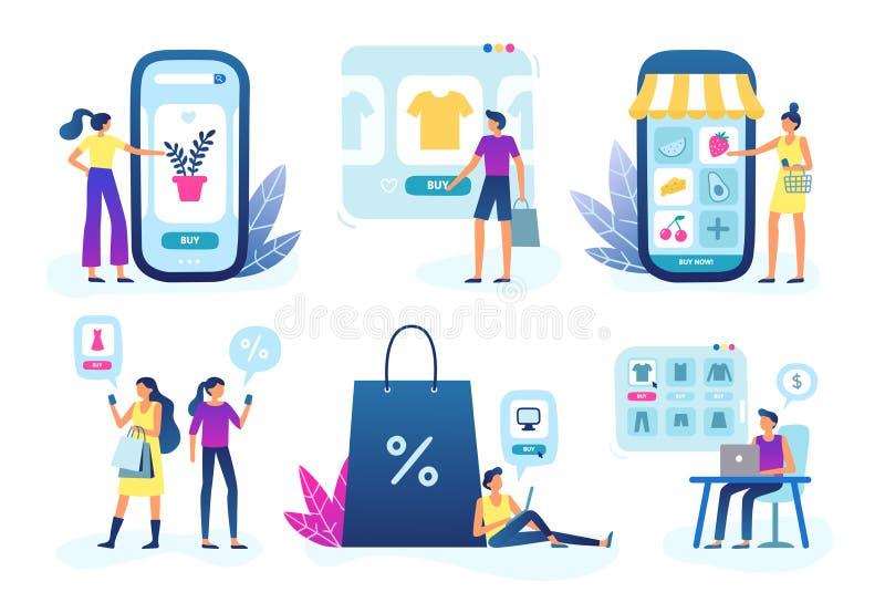 Loja em linha Negócio da loja da Web, compra do serviço e do Internet de entrega dos bens do cliente e venda da ilustração do vet ilustração royalty free