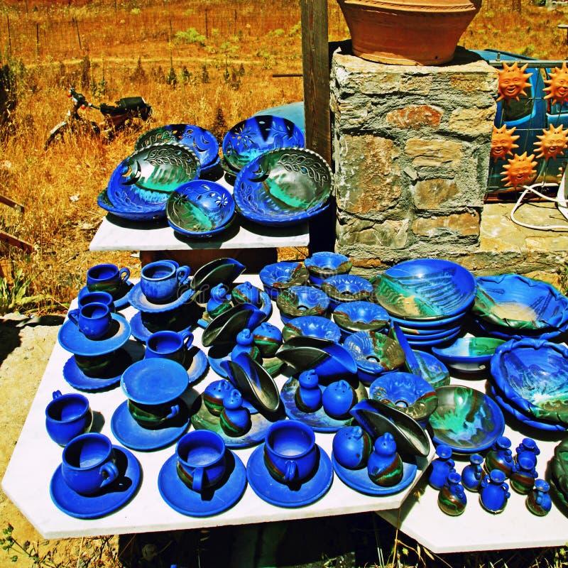 Loja grega da cerâmica, Creta fotografia de stock