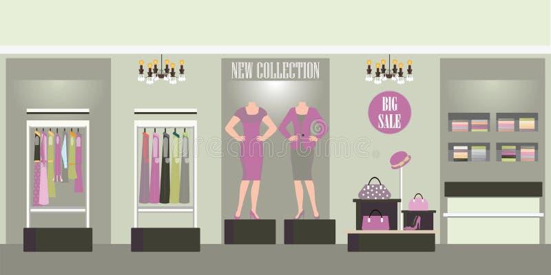 Loja interior com os produtos em prateleiras, ilustração de compra da roupa do vetor da forma ilustração royalty free