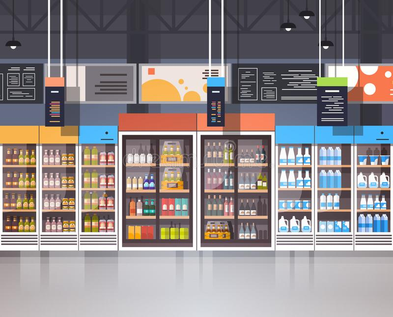 Loja interior do supermercado com a variedade do alimento do mantimento em prateleiras ilustração stock