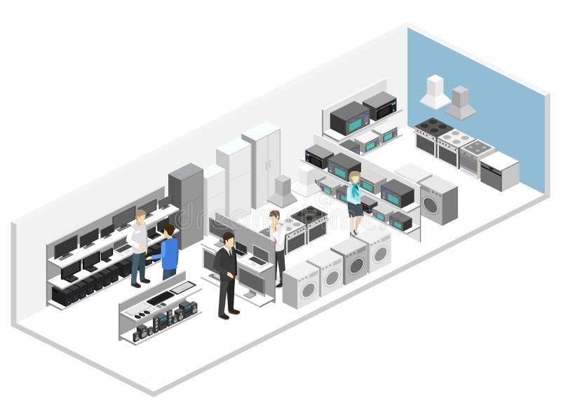 Loja interior lisa isométrica do equipamento da família 3D, loja de computador ilustração do vetor