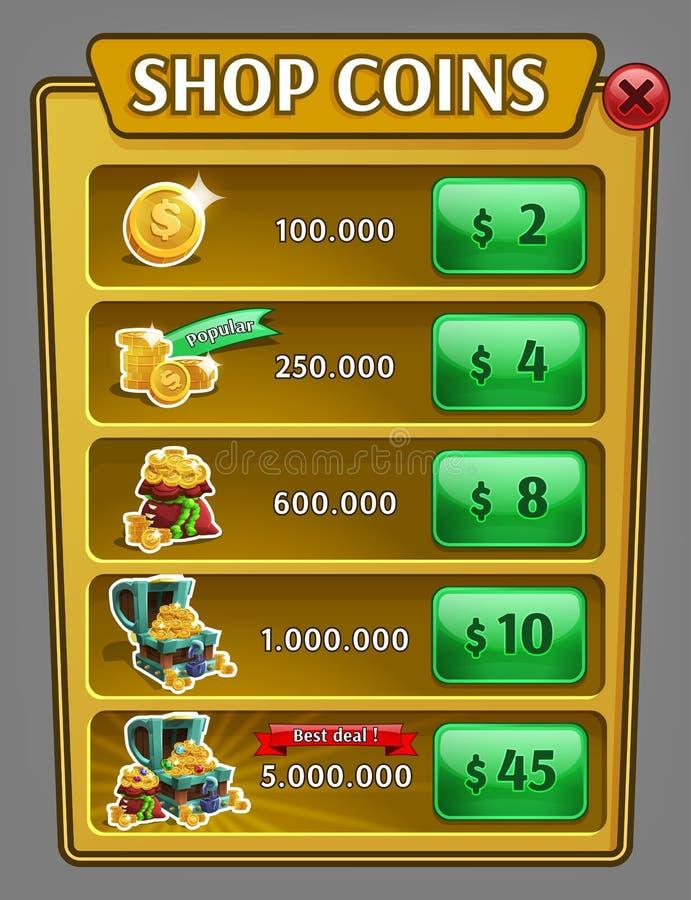 A loja inventa o painel, ativo do jogo com ícones das moedas ilustração royalty free