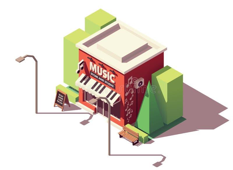Loja isométrica do instrumento musical do vetor ilustração do vetor