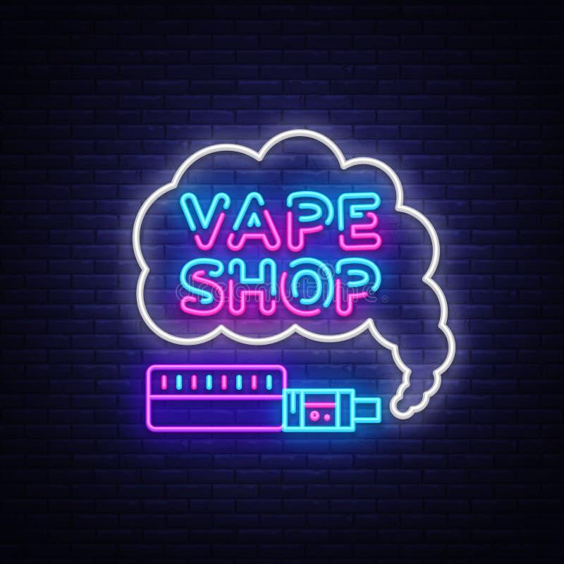 Loja Logo Neon Vetora de Vape Molde em cigarros eletrônicos do tema, bandeira clara do projeto do sinal de néon de Vape, noite br ilustração stock