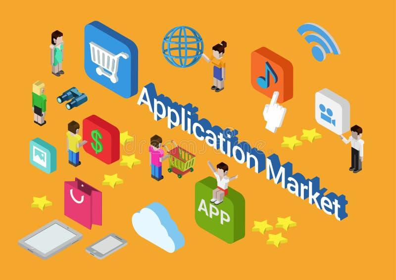 Loja móvel do app do mercado da aplicação do conceito 3d isométrico liso ilustração do vetor