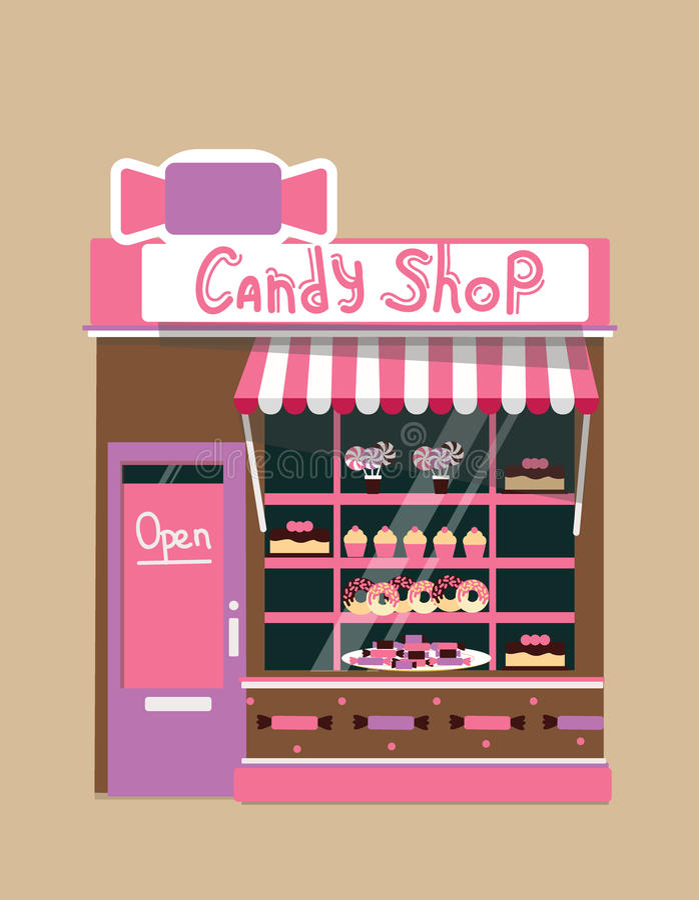 Loja moderna dos doces do vetor ilustração stock