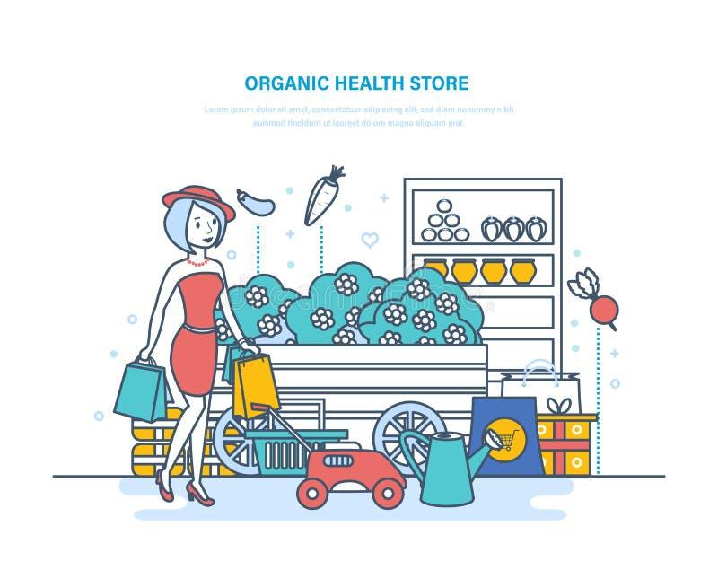 Loja orgânica da saúde Produtos da compra, cultivando, jardinando, comprando no supermercado ilustração royalty free