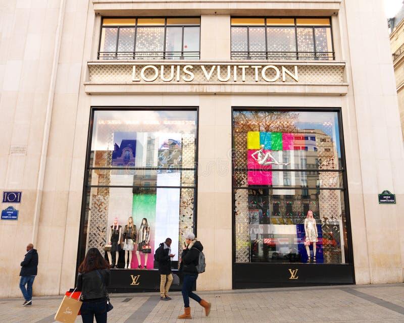 Loja Paris dos lysées do ‰ de Louis Vuitton Champs à fotos de stock royalty free