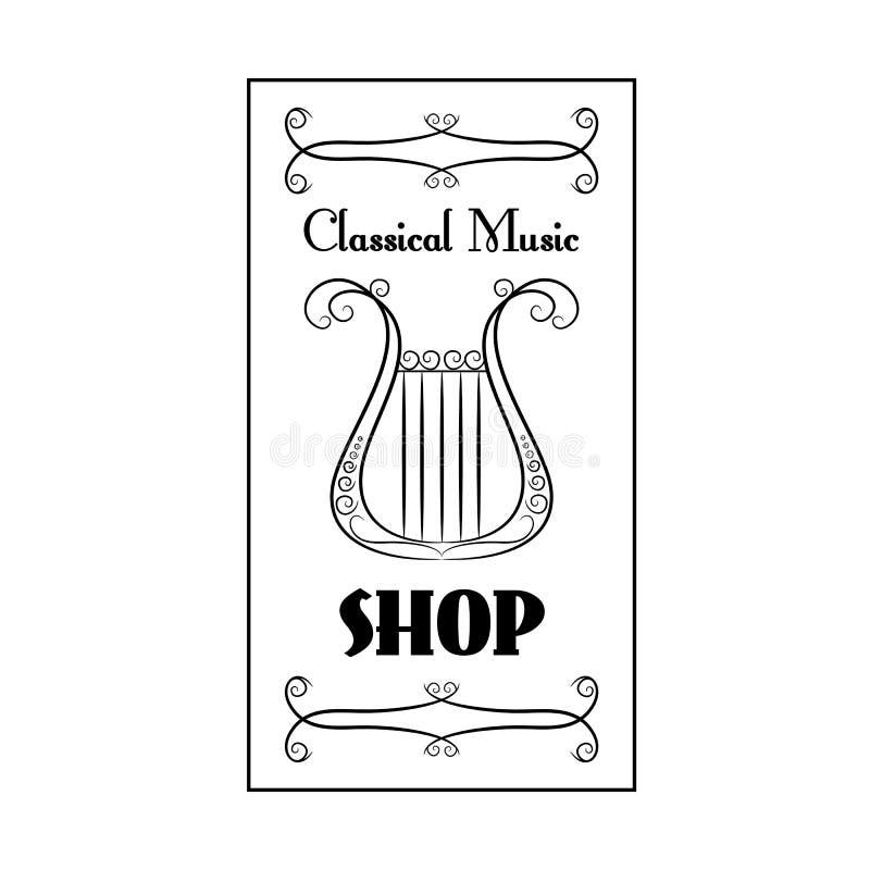 Loja preto e branco da música clássica do cartaz do vintage com a imagem de uma harpa no fundo branco ilustração royalty free