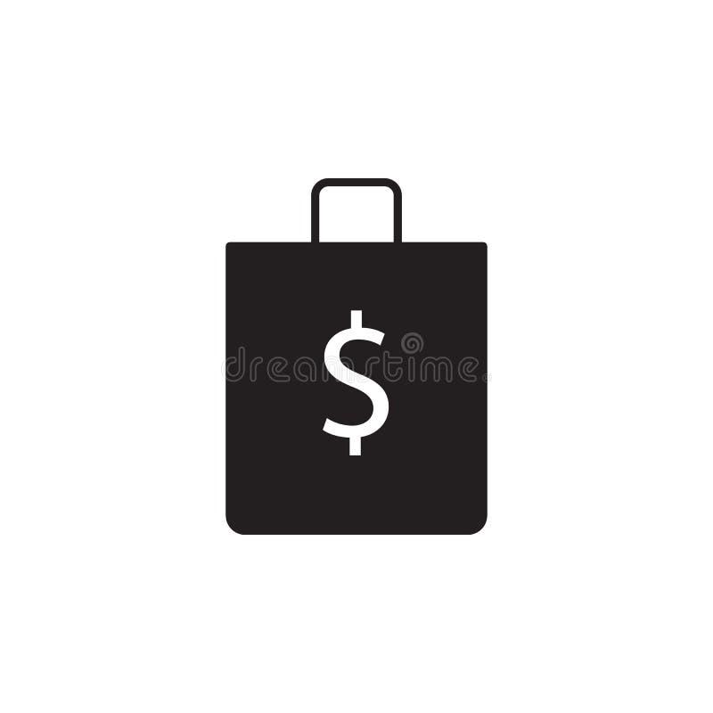 Loja, saco, ícone do dólar Os sinais e o ícone dos símbolos podem ser usados para a Web, logotipo, app móvel, UI, UX ilustração stock