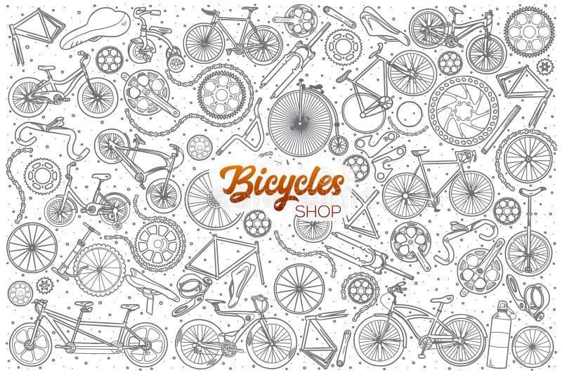 Loja tirada mão das bicicletas ajustada com rotulação ilustração stock